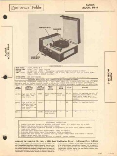audar model pr-6 am radio receiver phonograph sams photofact manual