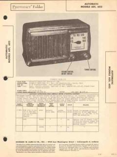 automatic model 601 602 5 tube am radio receiver sams photofact manual