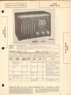 atlas model ab-45 6 tube am sw radio receiver sams photofact manual