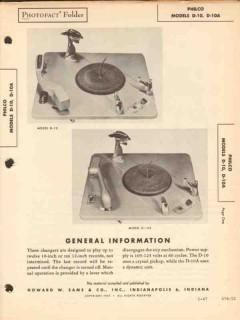 philco models d-10 phonograph record changer sams photofact manual