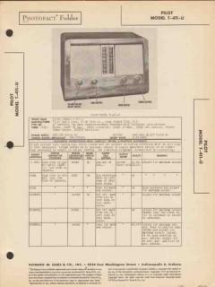 pilot model t-411-u 6 tube am sw radio receiver sams photofact manual