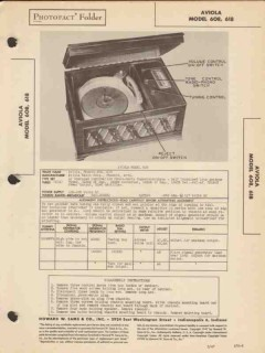 aviola model 608 618 am radio receiver phono sams photofact manual