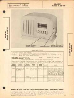 belmont model a-6d110 6 tube am radio receiver sams photofact manual