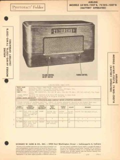 airline models 64-wg-1207b 74-wg-1207b am radio sams photofact manual