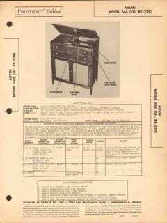 arvin model 665 6 tube am radio receiver phono sams photofact manual