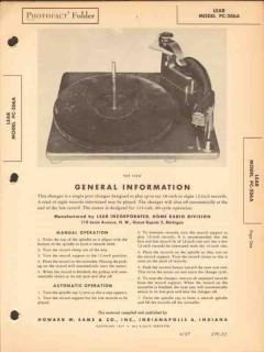 lear model pc-206a phonograph record changer sams photofact manual