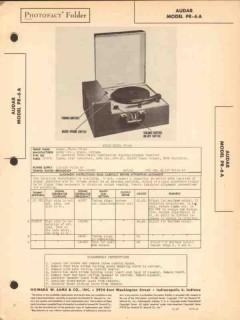 audar model pr-6a am radio receiver phonograph sams photofact manual