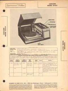 concord model cd61p am radio receiver phonograph sams photofact manual