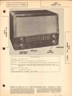 pilot model t-521 8 tube am fm radio receiver sams photofact manual