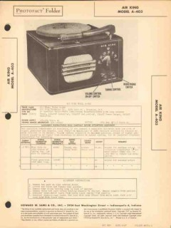 air king model a-403 4 tube am radio phonograph sams photofact manual