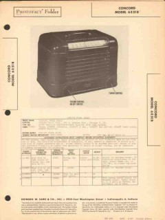 concord model 6e51b 5 tube am radio receiver sams photofact manual