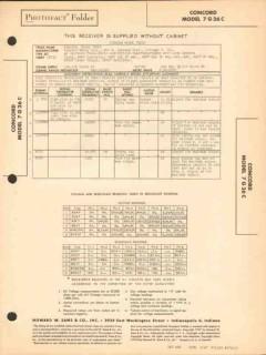 concord model 7g26c am sw radio receiver phono sams photofact manual