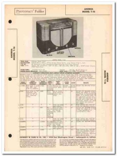 andrea model t-16 am-sw 3 band radio receiver sams photofact manual