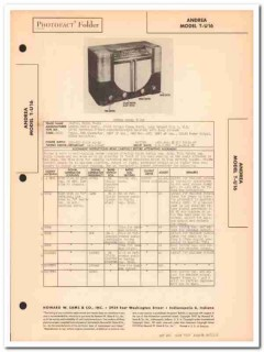 andrea model t-u16 am-sw 3 band radio receiver sams photofact manual
