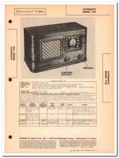 automatic model 720 6 tube am radio receiver sams photofact manual