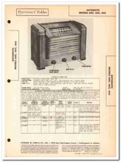 automatic model 660 662 666 am sw radio receiver sams photofact manual