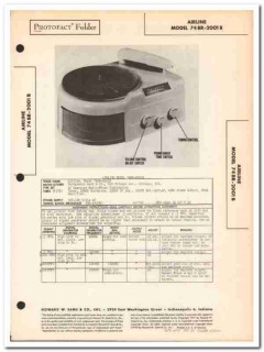 airline model 74br-2001b am radio receiver phono sams photofact manual