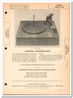 admiral model rc150 automatic phonograph changer sams photofact manual