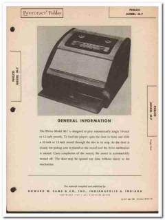 philco model m-7 automatic record player phono sams photofact manual