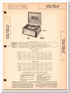 capitol model u-24 4-tube record player phono sams photofact manual