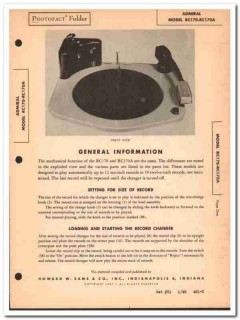 admiral model rc170 rc170a record changer phono sams photofact manual
