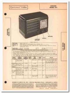 howard model 474 5-tube am fm radio receiver sams photofact manual