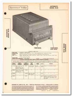 automatic model m-86 6-tube car am radio sams photofact manual