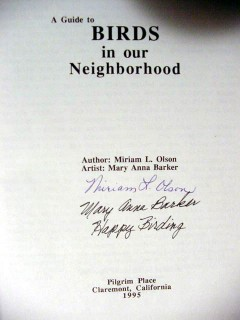 birds in our neighborhood by olson and barker signed book