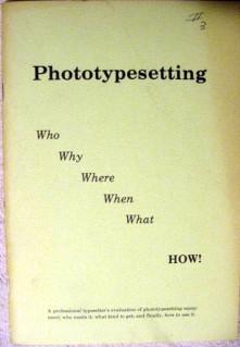 phototypesetting typeset typesetter equipment printing book