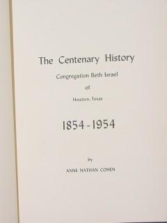 centenary history beth israel houston tx cohen 1954 jewish book
