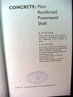 concrete reinforced prestressed shell rh evans cb wilby vintage book