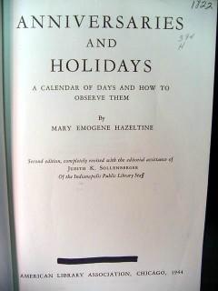 anniversaries and holidays how to observe mary emogene hazeltine book