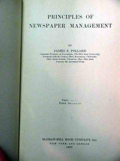principles of newspaper management james pollard 1937 vintage book