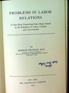 problems in labor relations herman feldman vintage union book