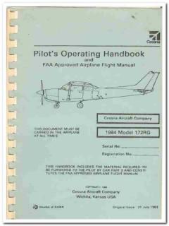 pilots operating handbook cessna model 172rg flight manual book