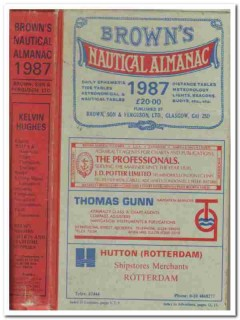 browns nautical almanac for 1987 tide tables book