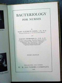bacteriology for nurses morse frobisher vintage medical book