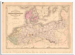 prussia denmark holland belgium 1882 hand colored vintage map