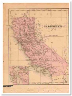 california 1882 steel engraving hand colored vintage map