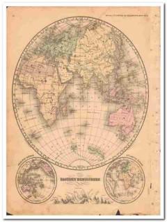 eastern hemisphere 1882 hand colored antique vintage map