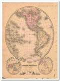 western hemisphere 1882 original hand colored antique vintage map