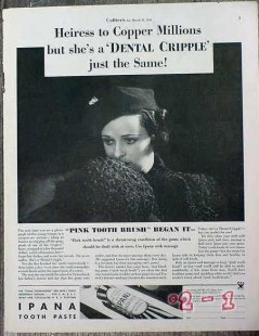 bristol-myers 1934 ipana tooth paste heiress to copper vintage ad