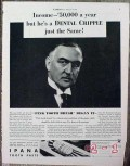 bristol-myers 1934 ipana tooth paste income dental cripple vintage ad