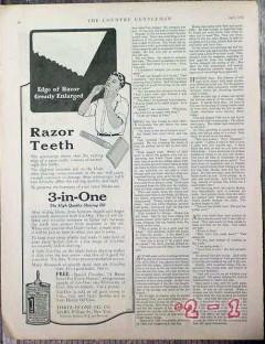 three in one oil company 1926 razor teeth shaving oil vintage ad