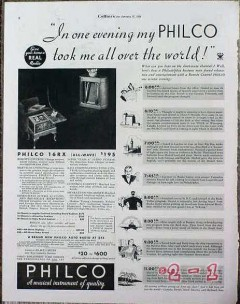 philco 1934 model 16rx took me all over the world radio vintage ad