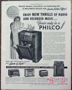 philco 1940 beam of light new thrills recorded music radio vintage ad