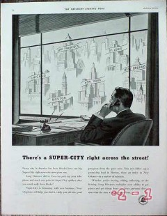 american telephone telegraph 1940 super city across street vintage ad