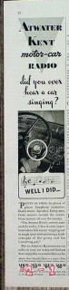 atwater kent 1934 automobile radio singing motor car vintage ad