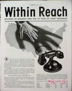 american telephone telegraph 1934 within reach of millions vintage ad