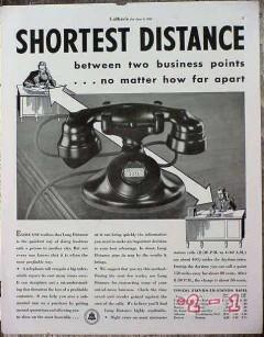 att telephone 1934 att shortest distance phone rates vintage ad